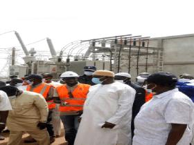 Visite du Président Adama Barrow au poste de Soma du Projet Energie de l'OMVG